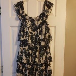 Tiered Black and White Floral Cato Dress 16